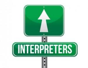 "Sign indicating ""interpreters ahead"""