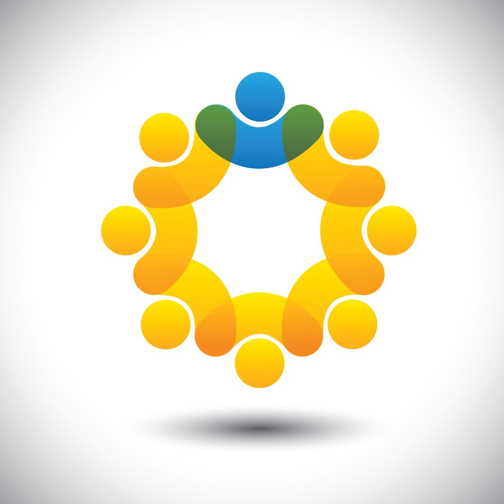 Graphic illustrating a circle of individuals