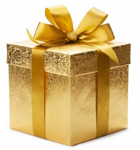 Gift with Gold Wrapping Paper and Bow