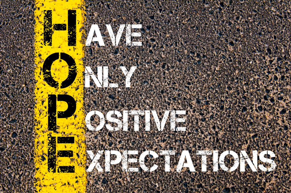HOPE: Have Only Postive Expectations spray painted on concrete