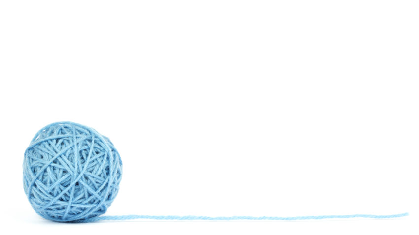 Ball of yarn unwinding