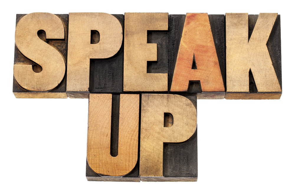 Block letters: speak up